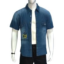 Camisa Jeans Masculina Manga Curta