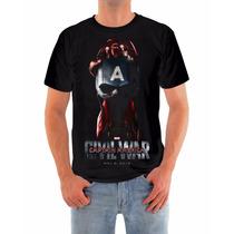 Camisa Capitão America Guerra Civil, Malha Dryfit Qualidade