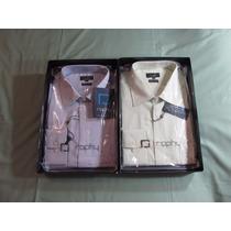 Kit 2 Camisas Raphy, Ref.520102 Ml Tam 4(42) Branco E Alfaze