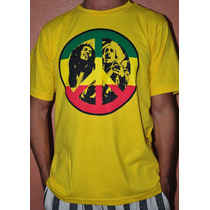 Camisa Reggae Algodão Sunlight Bob Marley Paz E Amor Amarela