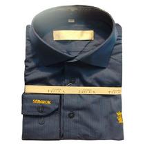 Camisa Social Masculina Sergio K Azul Escuro Listras Finas