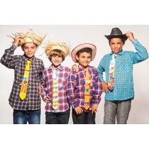 Camisa Infantil Xadrez Flanelada Junina Caipira - Tam. 16