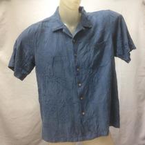 Camisa Seda Batik Bay Azul Texturizada Botao Coco G 111-214