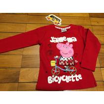 Blusa Em Malha Vermelha Peppa Pig Bordada