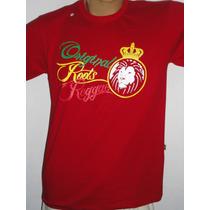 Camisa Reggae Algodão Sunlight Vermelha Leão Tenda Roots