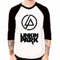 Camisa Blusa Raglan 3/4 Banda Rock Linkin Park Logo