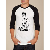 Camiseta Raglan Manga Longa Bruce Lee