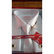 Kit Camisa Social Importada Com Abotoadura,gravata,prendedor