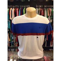 Camiseta Abercrombie Branca Com Azul Tam G #964 Camisa Polo