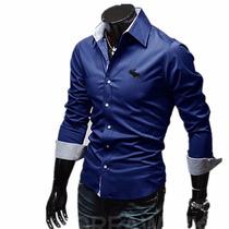 Camisa Social Slim Fit Luxo Importada Azul G Pronta Entrega.
