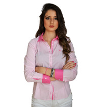 Camisa Camisete Social Feminina Slim Com Detalhes Flores