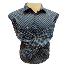 Camisa Social Masculina Louis Vuitton Quadriculada Azul Mari