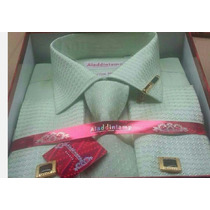 Camisa Social Importada Kit+gravata+abotoaduras+prendedor