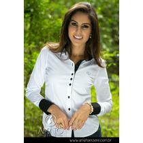 Camisa Social Tradicional Composê Branco E Preto - 1035