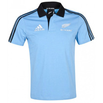 Camiseta Pólo Adidas Rugby All Blacks Nova Zelandia Azul