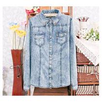 Blusa Camisa Feminina Jeans Celebridades - Importada