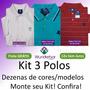 Kit 3 Camisas Polo Masculina Plus Size Até G4 Frete Gratis