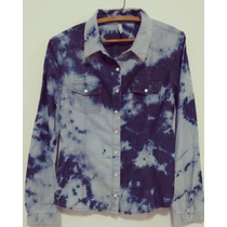 Camisa Jeans Feminina Estampa Manchada / Mesclada - Tie Dye