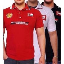 Camiseta Polo Ferrari Masculina Bordada - Pronta Entrega
