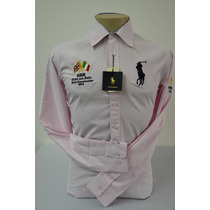 Camisa Social Masculina Polo Rauph Lauren Slim Fit, Cor Rosa