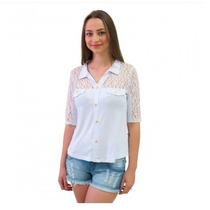 Blusa Camisa Feminina Meia Estação Com Renda Moda Fashion