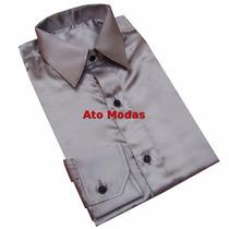 Camisa Seda Cetim Cinza/prata
