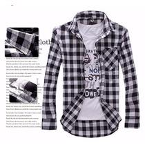 Camisa Xadrez Manga Longa Slim Fit Lisa Nk Top De Linha