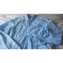 Camisa Masculina Calvin Klein Azul Xadrez Branco Slim Fit D+