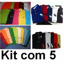Kit 5 Camisas Polo Masculina Camisetas Polo Pronta Entrega