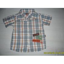 Camisa Social P/ Bebê Menino Tamanho 12 A 18 Meses Semi Nova