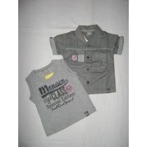 Conj Infantil Bebê Camisa E Camiseta Brandili Mundi Tam P