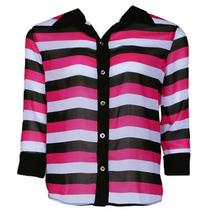 Camisa Listrada Nighteen Rosa/preto/branco