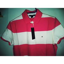 Camisa Tommy Polo Feminina Rosa E Creme Tm M & G Importada