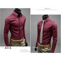 Camisa Social Masculina Algodão Vinho Slim Importada 2