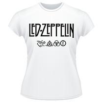 Baby Look Led Zeppelin Símbolos Banda Rock Feminina