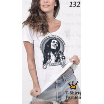 Camiseta T-shirt Bob Marley Fashion Feminino Frete Grátis