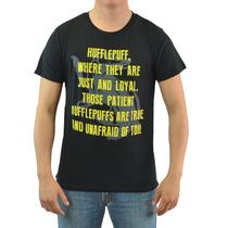 Harry Potter Preto Mensagem Hufflepuff T-shirt Tamanhos Novo