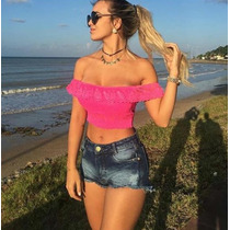 Top Cropped Ciganinha Em Renda Blusa Feminina - Panicat