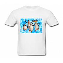 Camiseta Infantil Brancaos Pinguins De Madagascar