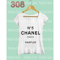 Camiseta Blusa Tshirt Feminina N° Chanel Paris Parfum Moda