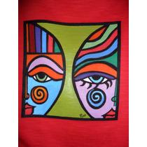 Camiseta Feminina, Ref. 451, 100% Algodão, Pintada À Mão