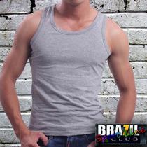 Camiseta Regata Nadador Cinza Mesclada - Malha 100% Algodão