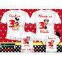 Kit 4 Camisetas Personalizadas Aniversario Mickey E Minei