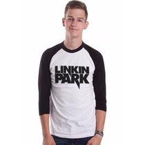 Camiseta Raglan 3/4 Meia Manga Bandas Rock Linkin Park