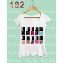 Blusa Tshirt Feminina Estampa Esmaltes Chanel Moda Look