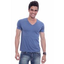 Camiseta Básica Decote V Az Jeans