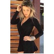 Macacão Curto Macaquinho Feminino Babado Moda Blogueira