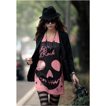 Blusa Com_caveira_skull_crossbone_fashion_alternativa_j.rock