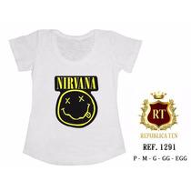 T-shirt Camiseta Nirvana Banda Rock Personalizada Feminina