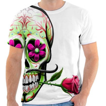 Camiseta Camisa Caveira Mexicana Flor Festa Estampada